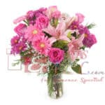 Pink flowers bunch in vase